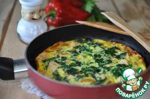 Рецепт Фриттата с куриным филе и шпинатом