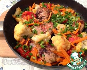 Рецепт Маринованные куриные голени с цветной капустой и овощами