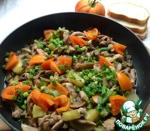 Рецепт Свиное филе с шампиньонами и овощами