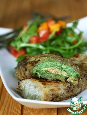 Рецепт Спринг роллы или блинчики нэм с лососем и шпинатным муссом