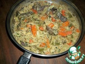 Рецепт Мясо тушеное с овощами в молочно-арахисовом соусе