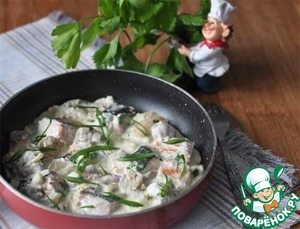 Рецепт Лосось с грибами в сливочно-сырном соусе