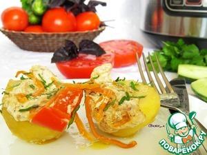 Рецепт Картошка с овощами и курицей на пару