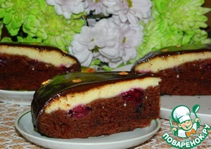 Рецепт Творожно-шоколадный пирог с вишней