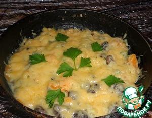 Рецепт Картофель, тушеный в сковороде с фасолью