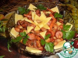 Рецепт Теплый салат с фасолью и охотничьими колбасками