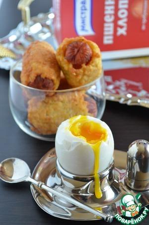 Рецепт Сосиски в хрустящей шубке из пшенных хлопьев