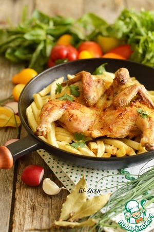 Рецепт Ароматный цыпленок с жареным картофелем