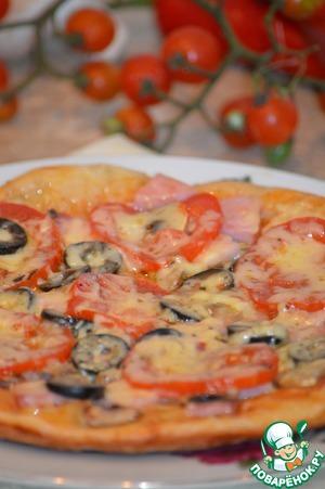Рецепт Пицца с ветчиной и грибами в мультиварке