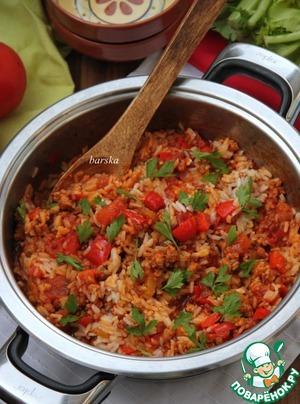Рецепт Итальянская сковорода с фаршем, овощами и рисом