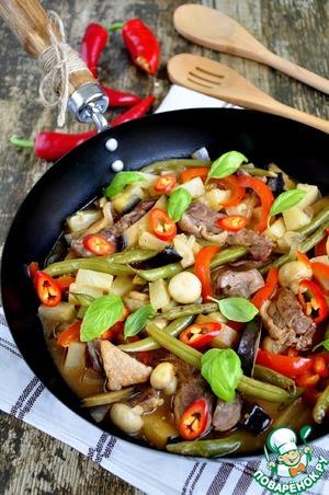 Рецепт Соус с уткой и овощами в сковороде к пасте или рису