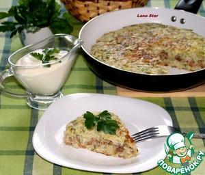 Рецепт Капустный пирог с мясом и грибами на сковороде