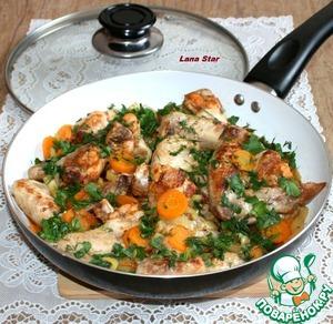 Рецепт Куриные крылышки с овощами на сковороде