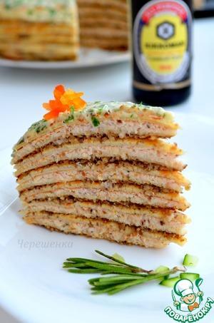 Рецепт Закусочный блинный торт с куриным паштетом и грибной икрой