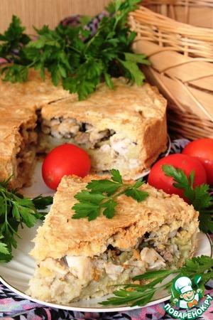 Рецепт Пирог по-деревенски с цыпленком и пшенными хлопьями