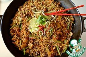 Рецепт Вермишель с курицей и креветками по-сингапурски