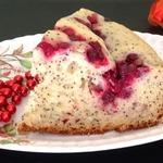 Творожно-маковый пирог с клюквой