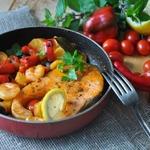 Рыбная солянка с печёным сладким перцем