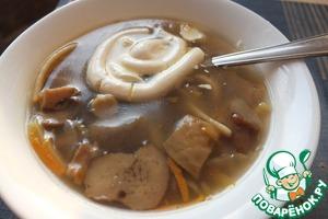 Рецепт Суп из свежих грибов с яичной лапшой