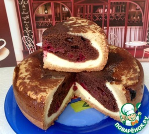 """Рецепт Шоколадно-творожный пирог с вишней """"Миледи"""""""