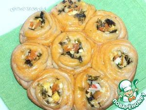 Рецепт Булочки-розочки с сырной начинкой в мультиварке