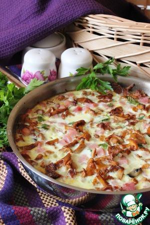 Рецепт Запеканка с грибами и ветчиной в сковороде