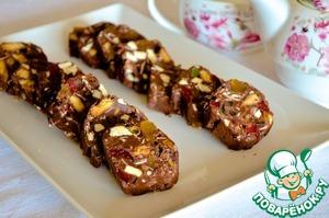 Рецепт Шоколадное пирожное с орехами и фруктами