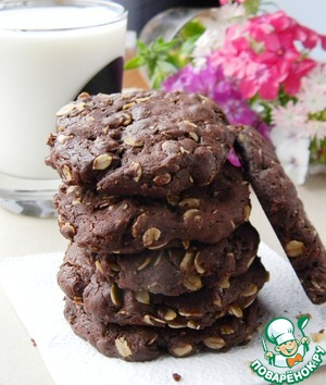 Рецепт Шоколадное печенье с овсяными хлопьями