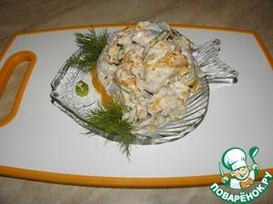 Рецепт Салат из сельди с виноградом и мандаринами