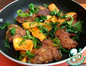 Рецепт Куриные грудки в сырной панировке с овощами