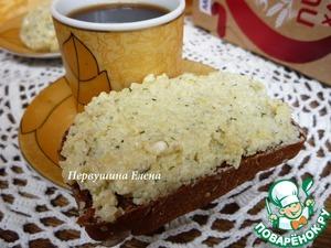 Рецепт Бутерброд с намазкой из пшеных хлопьев и голубого сыра