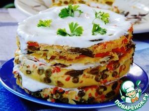 Рецепт Закусочный торт с морковью и зеленой фасолью