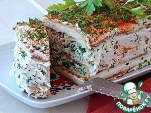 Рецепт Закусочный торт с курицей, брынзой и шпинатом