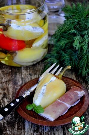 Рецепт Закуска из маринованного перца с брынзой