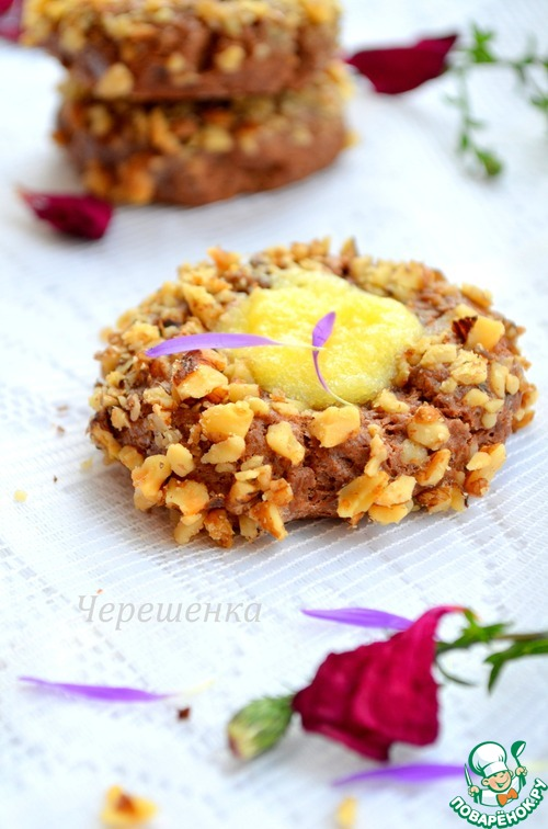 Печенье с орехами и апельсиновым курдом