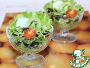 Рецепт Cалат с огурцами, маслинами и киви