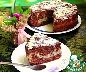 Шоколадно вишневый пирог с творожно-маковой начинкой