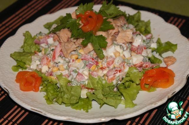 Салат с консервой из горбуши рецепт с