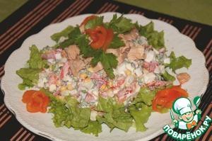 """Рецепт Салат с консервированной горбушей """"Озарение"""""""