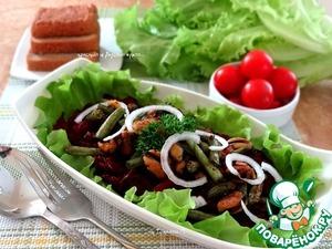 Рецепт Салат из свеклы с зеленой фасолью и мидиями