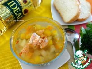 Рецепт Солнечный супчик с тыквой, картофелем и семгой