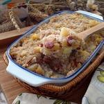 Гречнево-рисовая запеканка с картофелем и колбасками