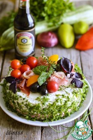 Рецепт Закусочный овощной торт с сырным кремом