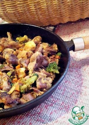 Рецепт Желудочки куриные на азиатский манер