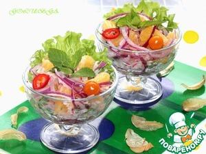 Рецепт Марокканский салат из редиса и апельсина с красным луком