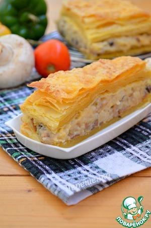Рецепт Слоеный закусочный пирог с грибами и овощами