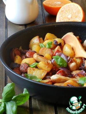Рецепт Картофельная сковорода с курицей и колбасками