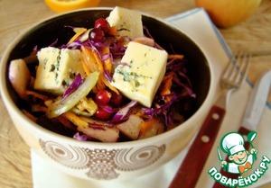 Рецепт Салат из краснокочанной капусты с голубым сыром