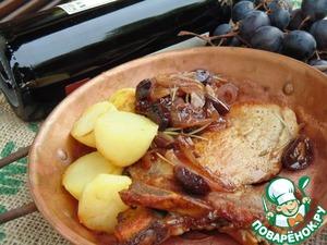 Рецепт Свиная котлета на кости в медово-коньячном соусе