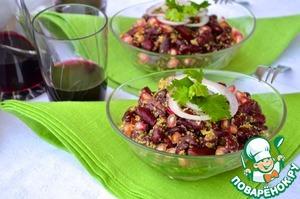 Рецепт Салат из фасоли с песто из кинзы и грецких орехов